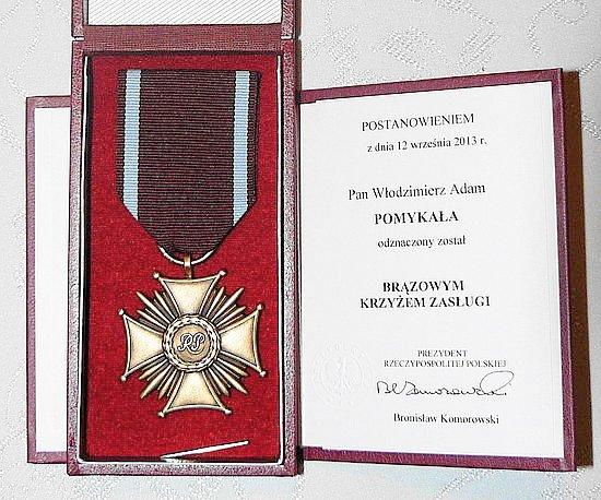 Brązowy Krzyż Zasługi dla Włodzimierza Pomykały